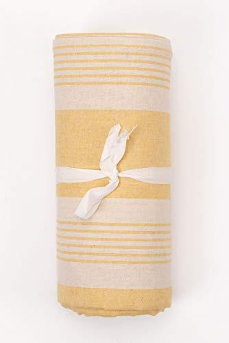 HomeLife – Foulard Multiusos – Tela Decorativa Cubre sofá con diseño de Rayas, 160x280, fabricación Italiana – Granfoulard de algodón – Cubrecama Individual (Cama 1 Plaza) – Amarillo