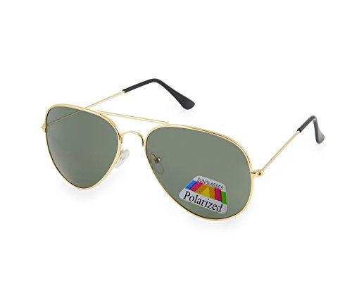 Gafas de sol estilo piloto, gafas de espejo a la moda, unisex, diversos colores de Morefaz Ltd Black Gold Polarized Talla única