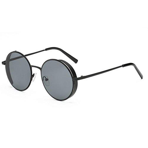 Gafas de Sol Mujer, Xinantime Marco de metal redondeado de moda de hombre de mujer Gafas de sol de marca clásica (A)