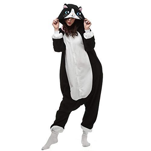 Body Animal Pijamas Cat Onesies para Adultos Cartoon One Piece Onsie Men Kitty Pijamas Halloween Jumpsuit Mujeres Cosplay Suit A XXL