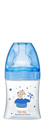 Dodie – Biberon Anti-Colique Sensation+ Bleu Ourson, 150 ml, 0-6 mois, Tétine plate, Débit 1 6336801