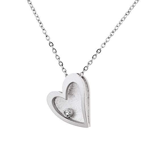 Ernstes Design Collar con colgante de corazón K815 con brillante de 0,02 quilates, acero inoxidable