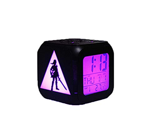 QMMCK Despertador 3D Legend Luz De Noche LED Silenciosa Reloj Despertador Electrónico De Siete Colores Creativo Zelda -USB De Carga