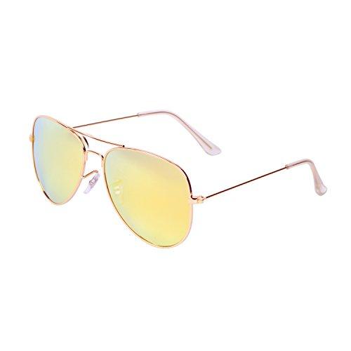 Qixuan QIXU Polarizadas Gafas de Sol Aviador Amarillo para Hombre y Mujer Efecto Espejo Lente Antirreflejante UV400 con el Caso