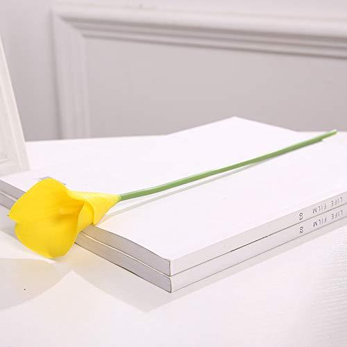 Jun7L Calla-Lilie – künstliche Latex-Blumen für Blumengestecke, Brautsträuße und Heimdekoration, 10 Stück Gelb 39X9X6CM