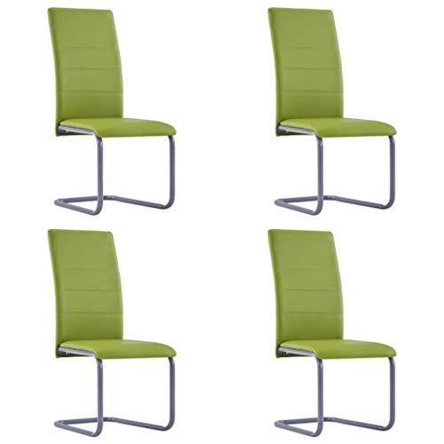 vidaXL 4X Freischwinger Esszimmerstuhl Schwingstuhl Stuhl Küchenstuhl Polsterstuhl Stühle Essstuhl Stuhlset Esszimmerstühle Grün Kunstleder