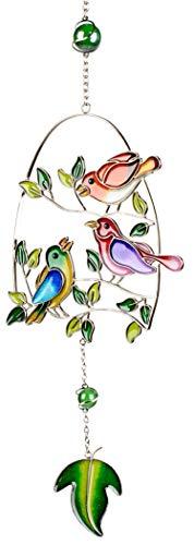 dekojohnson Moderner Fensterhänger Deko-Hänger Glasbild Fensterdeko Tiffany Art Vogel Orange Lila Frühling Sommer 44cm