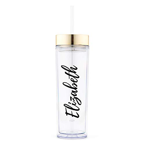 Weddingstar Reusable Water Bottle 16 Ounce – Customizable Eco-Friendly Plastic – 100% BPA-Free Personalized Transparent Party Cup with Straw – Gold – Calligraphy