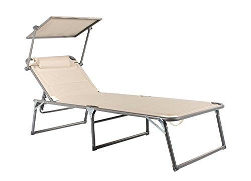 Meerweh Aluminium Gartenliege XXL mit Dach Dreibeinliege gepolstert mit Quick Dry Foam Sonnenliege, Beige, 200 x 70 x 37,5 cm
