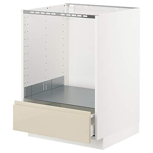 METOD/MAXIMERA Mueble base para horno con cajón 60x62.1x88 cm blanco/Voxtorp de alto brillo beige claro
