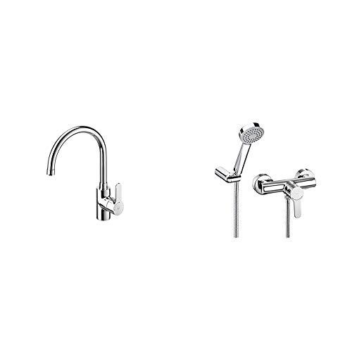 Roca A5A5309C00, Grifo Monomando para Cocina con Caño Giratorio y Inicio Fresco, Cromado + L20 - Monomando exterior para ducha con ducha de mano, flexible de 1,50 m. y soporte de ducha articulad