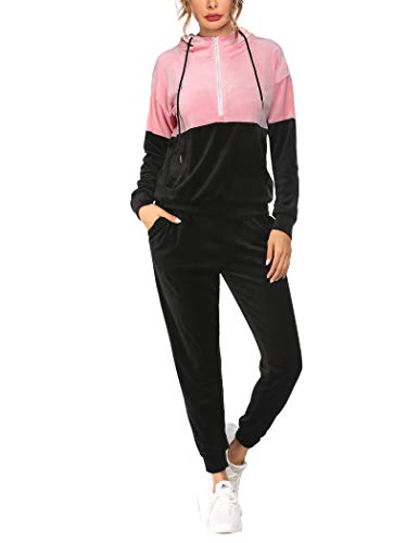 Hotouch Track Suit Women Set Velour Hoodie and Sweatpants Athletic Clothing Sets