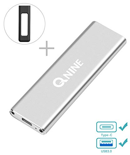 QNINE External SSD 1 TB (Included Protective Case), Portable SSD USB C for MacBook, USB 3.1 High Speed External SSD for Laptop, Xbox One X, etc