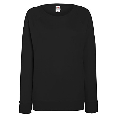 Fruit of the Loom – Jersey ligero ajustado de manga raglán para mujer negro negro Medium