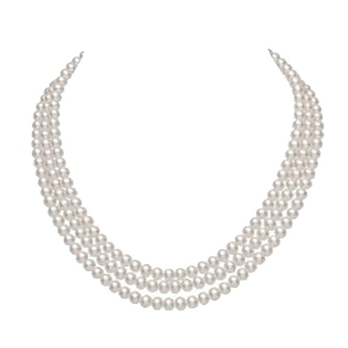 JYX 3-Row Round Natural Weißes Süßwasser Kultiviert Perlenkette