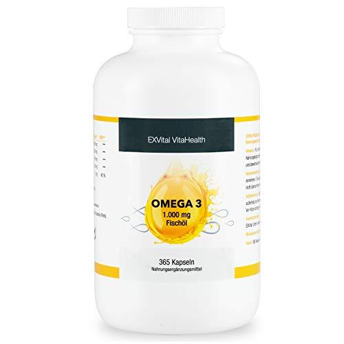 365 Kapseln Omega 3 Softgel, 1000mg Fischöl davon 360mg Omega Fettsäuren, 180mg EPA, 120mg DHA pro Tagesdosis, hochdosiert, Jahresvorrat, Geld zurück Garantie, 1 er Pack von EXVital.