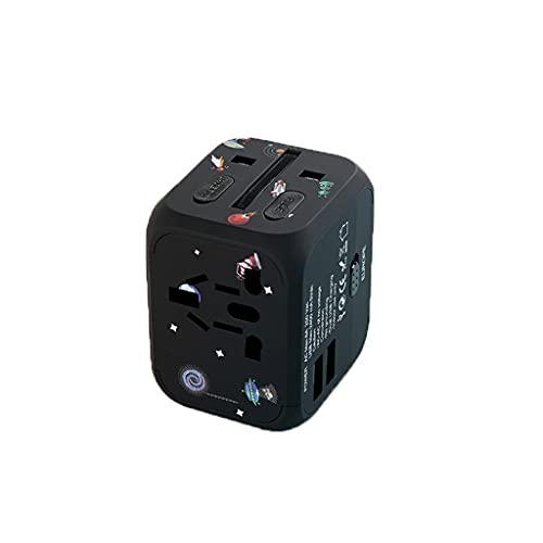 PIAOLING Internationaler Netzteil Reisestecker, 3 USB-Anschlüsse Universalarbeit für 224 Länder, 100-240 Volt Adapter, Adapter für UK Japan China Europe US CA AU AE (Color : Black)