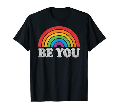LGBTQ Be You Gay Pride LGBT Ally Rainbow Flag Retro Vintage T-Shirt