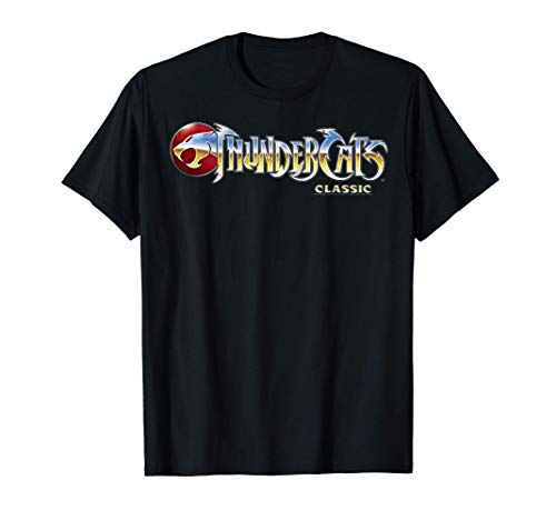 ThunderCats Classic Chrome Logo T-Shirt for Adults, Black, S to 3XL