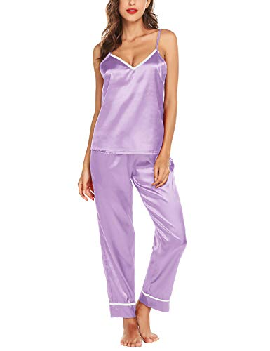 Romanstii Silk Satin Pajamas Sleepwear Set Cami PJ Nightwear Soft Lingerie S-XXL Light Purple