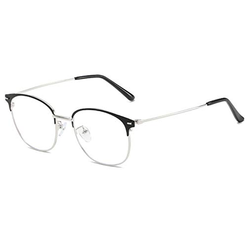 KoKoBin Gafas de lectura de metal filtro de luz azul gafas de computadora hombres mujeres bisagra ayuda visual ayuda de lectura fuerza lector de moda(Plata, +2.5)
