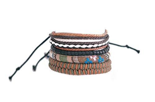 4 Piezas Pulseras Hombre Cuero Cuerda Ajustable Brazalete étnico Pulsera trenzada color