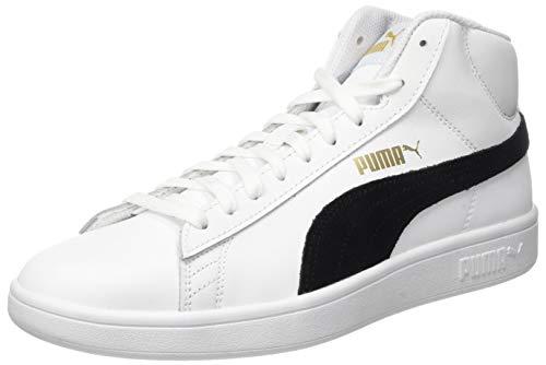 PUMA Unisex Smash v2 Mid L Sneaker, White Black Team Gold-High Rise, 42 EU