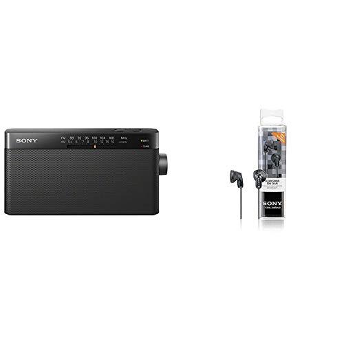 Sony ICF-306 - Radio analógica portátil FM/Am, Color Negro + MDRE9LPB - Auriculares de Botón, Color Negro, In Ear