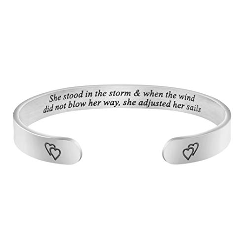 Wide Cuff Bracelets for Women Inspirational Gift Friend Encouragement Gift Motivational Jewelry Personalized Birthday Present