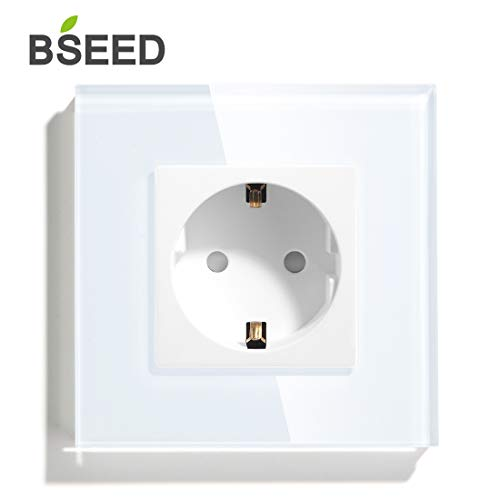 BSEED Marco de Cristal 13 Amp AC Power Tomacorriente de Pared Individuales Estándar de la EU Enchufes 86 * 86mm NegroBlanco