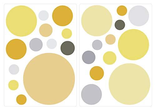 Pegatina de Pared Set habitación Infantil círculos en Colores Pastel en Tonos Amarillos y Grises veraniegas Unidades Puntos para Pegar Adhesivos de Pared Pegatinas decoración de la Pared