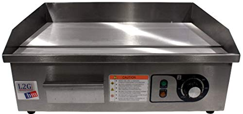 L2G - Plancha eléctrica con revestimiento cromado duro, cajón de recuperación de grasas, 50 a 300 °C, construcción de acero inoxidable