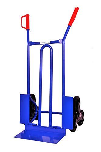 Sackkarre für Treppen, 250 kg 108x53x55 cm, blau (klappbare Schaufel) (Transportkarre Stapelkarre Handkarre, Umzugskarre, leichte Sackkarre aus Stahl klappbar für Umzug)