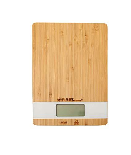 TZS First Austria Digitale Küchenwaage, Küchengerät zum Abwiegen von Lebensmitteln, Digitalwaage zum Wiegen von Zutaten bis 5 kg max, Briefwaage, in Holz/Weiß