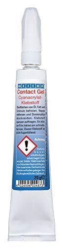 WEICON 12500120 Contact Gel 20 g pastöser 1 Komponentenkleber Cyanacrylatklebstoff, Farblos, 20g