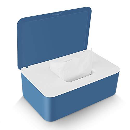 Delisouls Feuchttücher Spender, Trocken Nass Seidenpapier Schutzhülle Staubfrei Gewebe Aufbewahrung Box Hülle, Spender Halter mit Deckel für Heim (Blau Weiss)