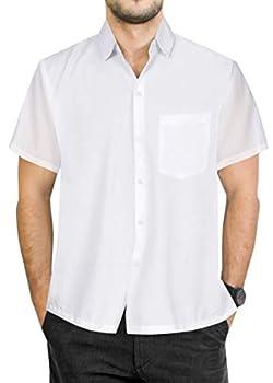 LA LEELA Men s Vacation Solid Plain Dress Short Sleeve Hawaiian Shirt XXL White_W877