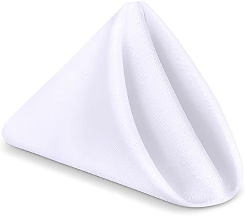 KICHLY Serviettes de Table en Tissu, Paquet de 24 (43 x 43 cm), Douces et Confortables, 100% Polyester Blanc - durables - idéales pour Les événements et lusage régulier à la Maison