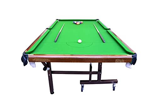 Khalsa Gymnastic Works Portable and Moveable on Wheels Pool Table(Billiard Table) 8x4 FT, Top 25 mm with Cover, Ball, cue Sticks, Triangle & Chalk : DogBBN01