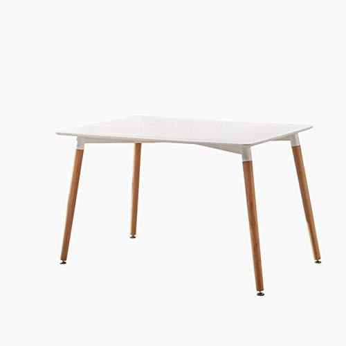 Beat Dining 120x80 Mesa patas madera y sobre madera blanco estilo nórdico para comedor, cocina , balcón , terraza interior