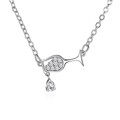 Collar de cristal de vino de oro rosa de 3 colores, collar elegante de botella de vino, regalos para niñas y mujeres, collares (color metal: plateado - 1670)