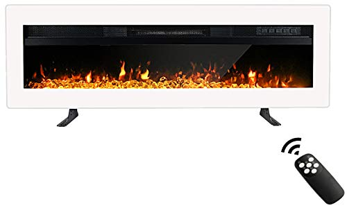 Maxhonor 40 Inches Electric Fireplace Insert Wall Mounted Freestanding Heater with Remote Control, 1500/750W, White