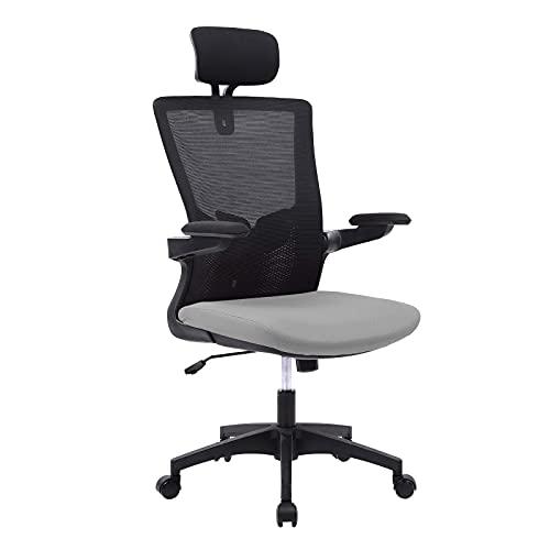 Bosmiller Ergonomischer Bürostuhl Atmungsaktiver Mesh-Bürostuhl mit hoher Rückenlehne Verstellbare Kopfstütze und Lordosenstütze mit Klapparm und Neigungsfunktion Schreibtischstuhl (9110 Grey)