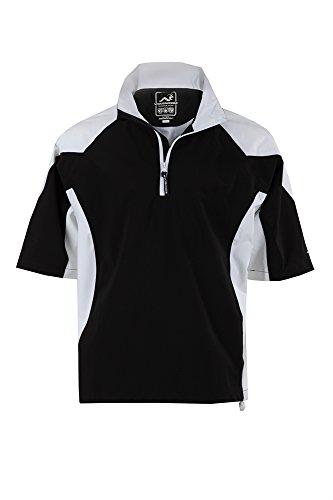 Woodworm Golf Mens Waterproof Rain Jacket Top – Short Sleeve Pullover Wind Top – European Fit Blk M