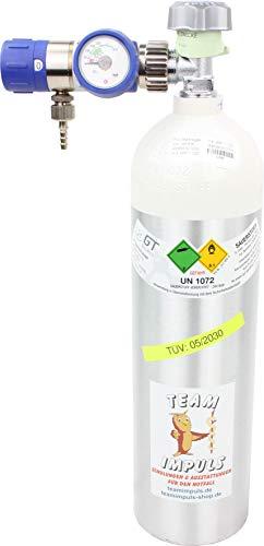 1,8-Liter Sauerstoffflasche mit Druckminderer/Druckregler MEDISELECT 25 02 D KL - Flasche aus Aluminium mit medizinischem Sauerstoff Druck: 200 bar von Team Impuls