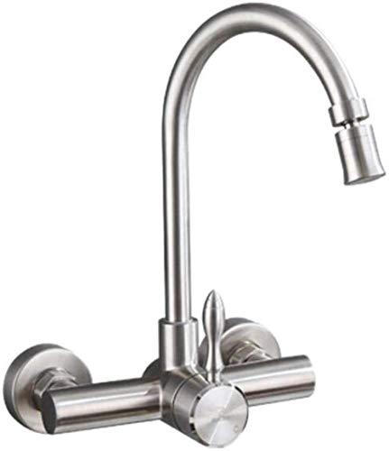 Grifo de cocina de pared de acero inoxidable 304, fregadero de pared frío y caliente, balcón, lavadero, piscina