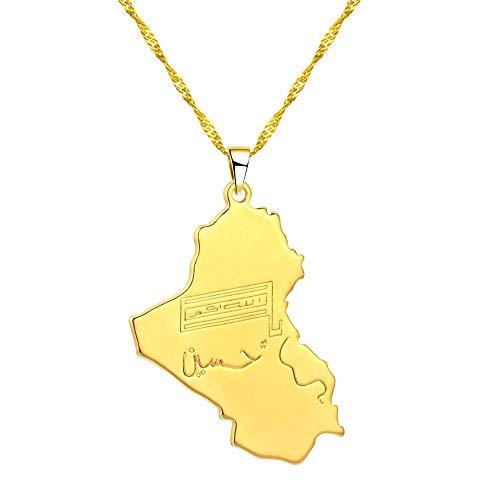 VAWAA Collar con Colgante de Mapa de la República de Irak, joyería con Mapa de Irak, Collares islámicos, Gargantilla de Cadena de Color Dorado para Hombres y Mujeres