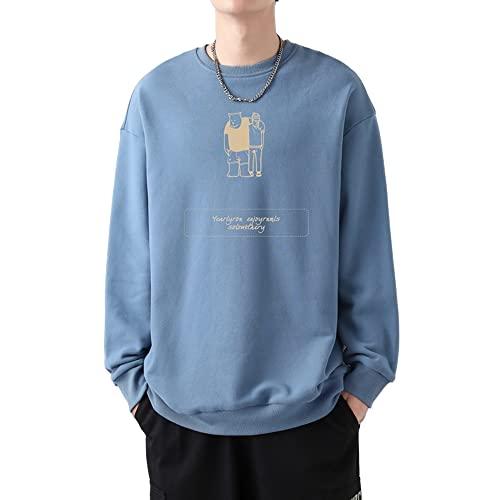 Suéter de los hombres de flujo suelto camisa de fondo ropa de impresión, Azul / Patchwork, XXX-Large