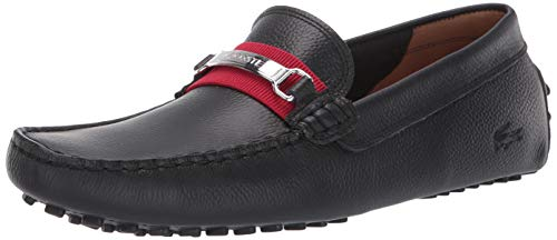 Lacoste mens Ansted Loafer, Black/Red, 10.5 US