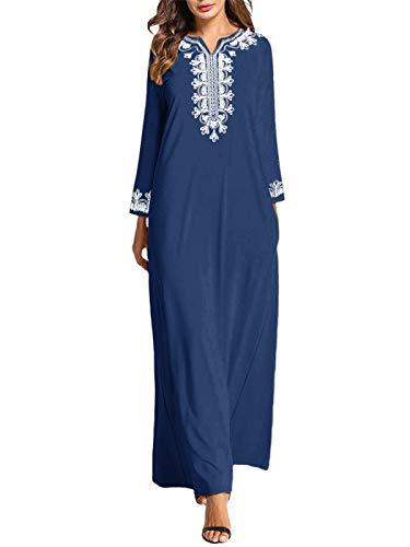 VONDA Maxikleider Damen Langarm Mittelalter Kleid Kaftan Maxikleid Lange Böhmen Kleider A-Blau L